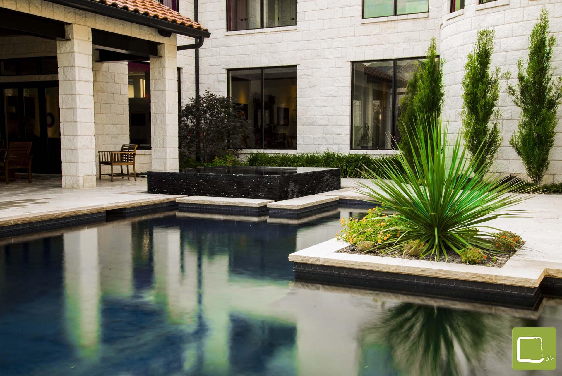 Dallas Landscape Architect Contemporary Infinity Pool Original