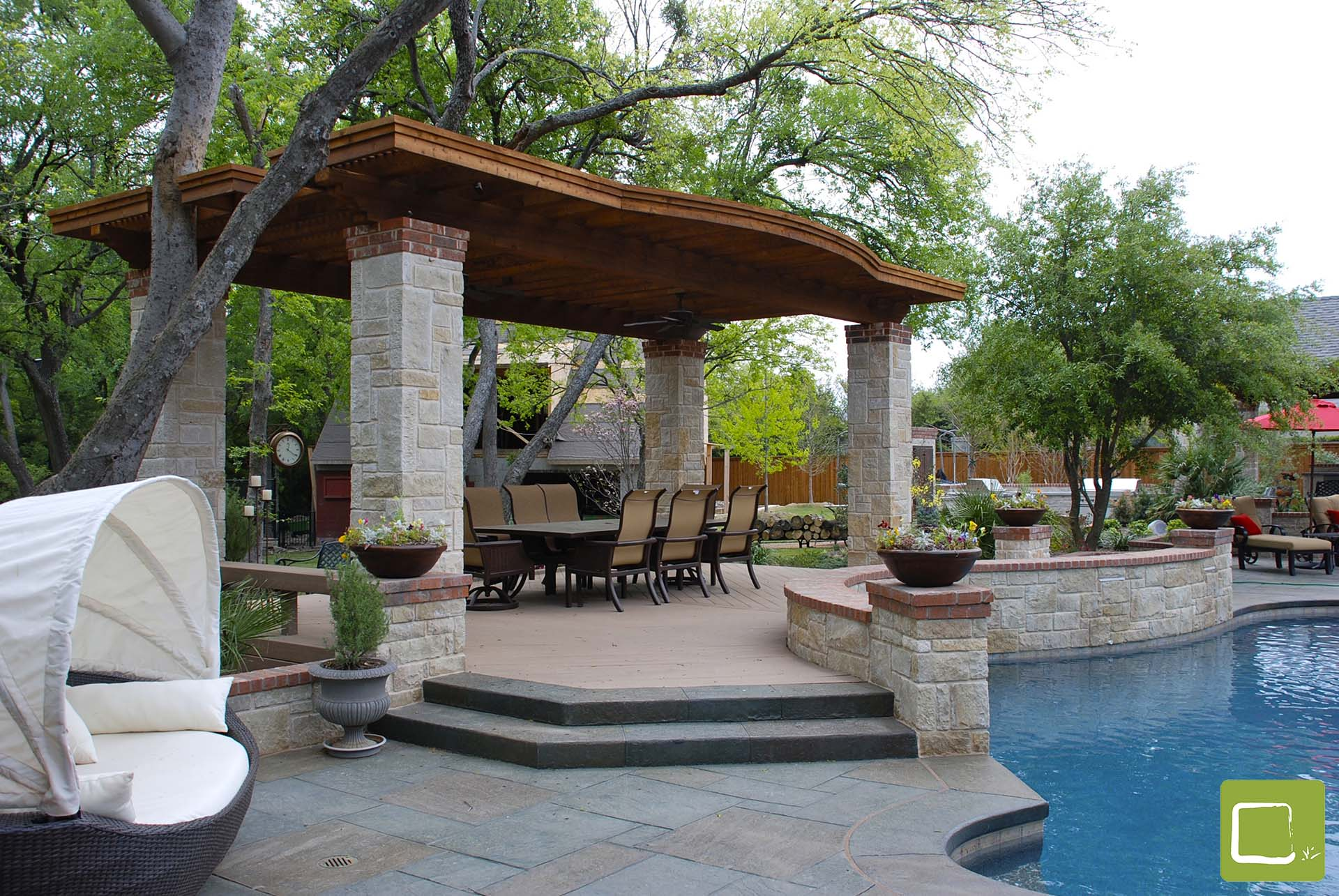 arbor stone pool landscape transitional modern