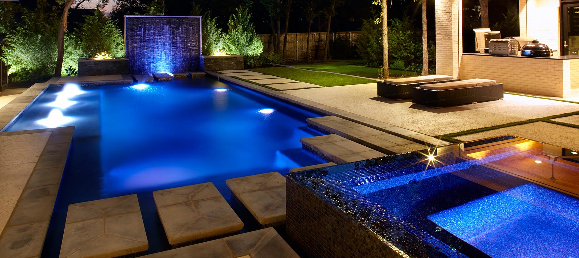Modern Outdoor Living Entertainment includes kitchen pool fire pit Spa Residential Landscape Design Build by Original Landscape Concepts